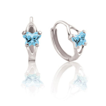 Baby 10K White Gold March Aquamarine (Cubic Zirconia) C.Z. Tiny Butterfly Huggie Hoop Earrings