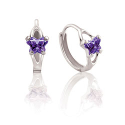 Baby 10K White Gold February Amethyst (Cubic Zirconia) C.Z. Tiny Butterfly Huggie Hoop Earrings/