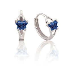Baby 10K White Gold September Blue Sapphire (Cubic Zirconia) C.Z. Tiny Butterfly Huggie Hoop Earrings/