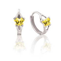 Baby 10K White Gold November Citrine (Cubic Zirconia) C.Z. Tiny Butterfly Huggie Hoop Earrings/