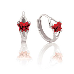Baby 10K White Gold January Garnet (Cubic Zirconia) C.Z. Tiny Butterfly Huggie Hoop Earrings/