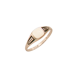 Handsome Boys - 10k Yellow Gold Boys Engravable Signet Ring - Size 5½/