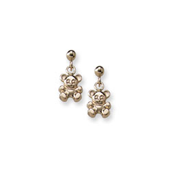 Gold Teddy Bear Dangle Earrings for Girls - 14K Yellow Gold Screw Back Girls Earrings/
