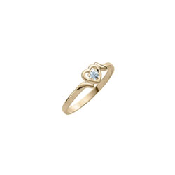 Toddler Birthstone Rings - 14K Yellow Gold Girls December Blue Zircon Birthstone Ring - Size 3½ - Perfect for Toddlers and Grade School Girls - BEST SELLER/