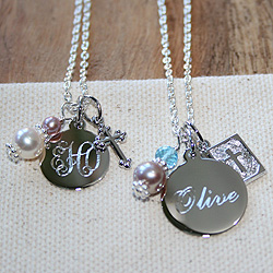 Ava™ by Adorable Engravables® - Build Your Own Custom Personalized Birthstone Necklace - Sterling Silver Rhodium - with exclusive Grow-With-Me™ Chain /