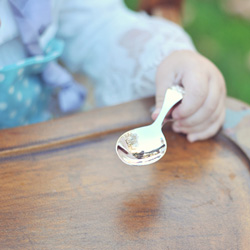 Best Baby Shower Gifts - Baby's First Spoon - Engravable Sterling Silver Baby Self Feeder Spoon with Embossed Teddy Bear by My First Gifts™