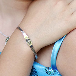 Keepsake Adjustable Bracelets - High Polished Sterling Silver Rhodium Adjustable Bangle Bracelet - Engravable on front - One bracelet fits baby, toddler, and child up to 10 years/