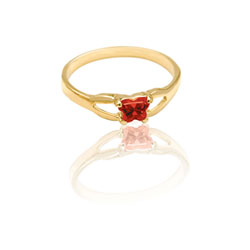 Teeny Tiny Butterfly Ring for Girls by Bfly® - January Garnet CZ Birthstone - 10K Yellow Gold Child Ring - Size 3 (3 - 8 years)/