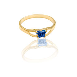 Teeny Tiny Butterfly Ring for Girls by Bfly® - September Blue Sapphire CZ Birthstone - 10K Yellow Gold Child Ring - Size 3 (3 - 8 years) - BEST SELLER/
