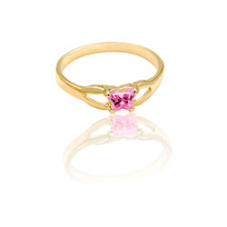 Teeny Tiny Butterfly Ring for Girls by Bfly® - October Pink Tourmaline CZ Birthstone - 10K Yellow Gold Child Ring - Size 3 (3 - 8 years) - BEST SELLER/