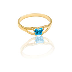 Teeny Tiny Butterfly Ring for Girls by Bfly® - December Blue Topaz  CZ Birthstone - 10K Yellow Gold Child Ring - Size 3 (3 - 8 years)/
