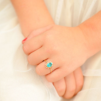 Girl's Birthstone Rings - 10K Yellow Gold Girls Synthetic December Blue Zircon Birthstone Ring - Size 5 1/2 - Perfect for Grade School Girls, Tweens, or Teens - BEST SELLER - LAST ONE