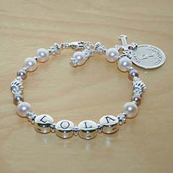 Pearls of Grace™ by My First Pearls® – Grow-With-Me® designer original freshwater cultured pearl name bracelet – Personalize with gemstones & charms/