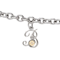 Girls Script Initial B - Sterling Silver Girls Initial Bracelet - Includes one Genuine Diamond and 14K Yellow Gold Accented Initial B Charm - Add an optional engravable charm to personalize/
