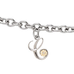 Girls Script Initial C - Sterling Silver Girls Initial Bracelet - Includes one Genuine Diamond and 14K Yellow Gold Accented Initial C Charm - Add an optional engravable charm to personalize/