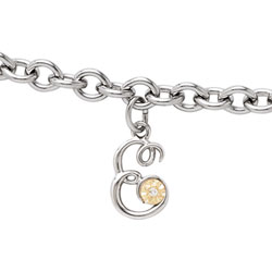 Girls Script Initial E - Sterling Silver Girls Initial Bracelet - Includes one Genuine Diamond and 14K Yellow Gold Accented Initial E Charm - Add an optional engravable charm to personalize/