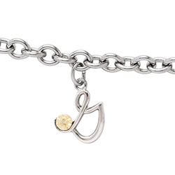 Girls Script Initial G - Sterling Silver Girls Initial Bracelet - Includes one Genuine Diamond and 14K Yellow Gold Accented Initial G Charm - Add an optional engravable charm to personalize/