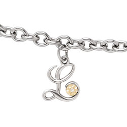 Girls Script Initial L - Sterling Silver Girls Initial Bracelet - Includes one Genuine Diamond and 14K Yellow Gold Accented Initial L Charm - Add an optional engravable charm to personalize/