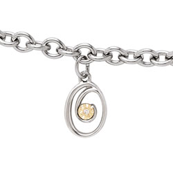 Girls Script Initial O - Sterling Silver Girls Initial Bracelet - Includes one Genuine Diamond and 14K Yellow Gold Accented Initial O Charm - Add an optional engravable charm to personalize/