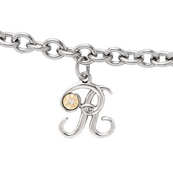 Girls Script Initial R - Sterling Silver Girls Initial Bracelet - Includes one Genuine Diamond and 14K Yellow Gold Accented Initial R Charm - Add an optional engravable charm to personalize/