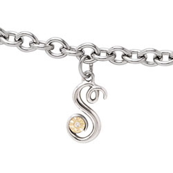 Girls Script Initial S - Sterling Silver Girls Initial Bracelet - Includes one Genuine Diamond and 14K Yellow Gold Accented Initial S Charm - Add an optional engravable charm to personalize/