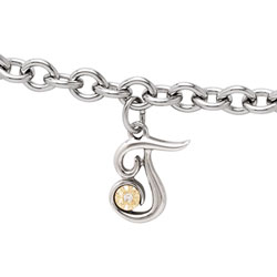 Girls Script Initial T - Sterling Silver Girls Initial Bracelet - Includes one Genuine Diamond and 14K Yellow Gold Accented Initial T Charm - Add an optional engravable charm to personalize/