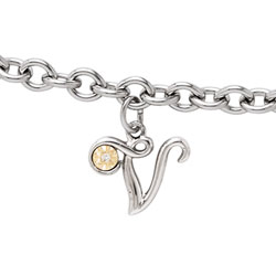 Girls Script Initial V - Sterling Silver Girls Initial Bracelet - Includes one Genuine Diamond and 14K Yellow Gold Accented Initial V Charm - Add an optional engravable charm to personalize/