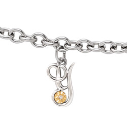 Girls Script Initial Y - Sterling Silver Girls Initial Bracelet - Includes one Genuine Diamond and 14K Yellow Gold Accented Initial Y Charm - Add an optional engravable charm to personalize/