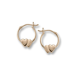Gold Double Heart Hoop Earrings for Girls - 14k Yellow Gold Hoop Earrings for Girls Age 6 years and up/