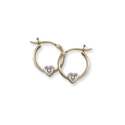 April Birthstone Genuine Diamond Heart Hoop Earrings for Girls - 14k Yellow Gold Hoop Earrings for Girls - Ages 6 and up - 0.02 ct. tw. Genuine Diamond Gemstone/