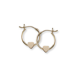 Gold Heart Hoop Earrings for Girls - 14k Yellow Gold Hoop Earrings for Girls Age 6 years and up/