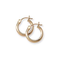 Gold Hoop Earrings for Girls - 14K Yellow Gold Hoop Earrings for Girls Age 6 years and up/