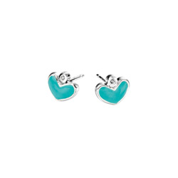 Adorable Blue Green Heart Diamond Earrings for Girls - High Polished Sterling Silver Enameled Heart with Genuine Diamond - Push-Back Posts/
