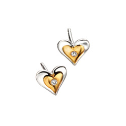 Adorable Heart Diamond Earrings for Girls - High Polished Sterling Silver Gold Plated Heart with Genuine Diamond - Push-Back Posts/