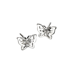 Adorable Silver Butterfly Diamond Earrings for Girls - High Polished Sterling Silver Butterfly with Genuine Diamond - Push-Back Posts - BEST SELLER/
