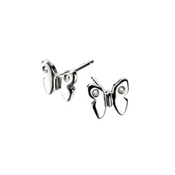 Adorable Silver Butterfly Diamond Earrings for Girls - High Polished Sterling Silver Butterfly with Genuine Diamond - Push-Back Posts/