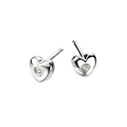 Adorable Silver Heart Diamond Earrings for Girls - High Polished Sterling Silver Heart with Genuine Diamond - Push-Back Posts/