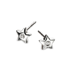 Adorable Silver Star Diamond Earrings for Girls - High Polished Sterling Silver Star with Genuine Diamond - Push-Back Posts/