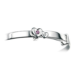 Girls Heart Birthstone Bracelet - High Polished Sterling Silver February Amethyst Birthstone Bracelet - Baby, Toddler/