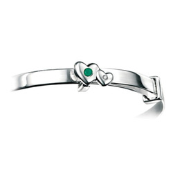 Girls Heart Birthstone Bracelet - High Polished Sterling Silver May Emerald Birthstone Bracelet - Baby, Toddler /