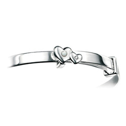 Girls Heart Birthstone Bracelet - High Polished Sterling Silver June Mother of Pearl Birthstone Bracelet - Baby, Toddler/