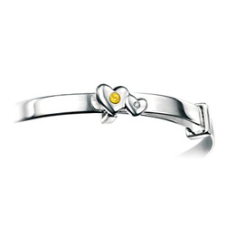 Girls Heart Birthstone Bracelet - High Polished Sterling Silver November Citrine Birthstone Bracelet - Baby, Toddler /