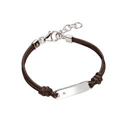 Boys and Girls Diamond Leather ID Bracelet - Size 5.5