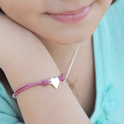 Little Girl's Favorite Diamond Heart Leather Initial Bracelet - Sterling Silver - Engravable on front - Size 6.0-inch Adjustable to Size 5.5-inch