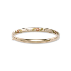 Fine Baby Bracelets - 14K Yellow Gold Baby, Toddler Tri-Color Floral Bangle Bracelet - Size 4.5