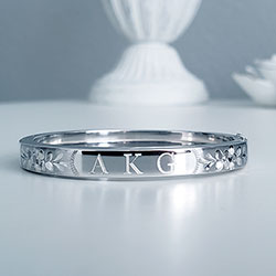 Fine Toddler Bracelets - Silver Flowers Sterling Silver Rhodium Bangle Bracelet - Engravable on Front - Size 5.25