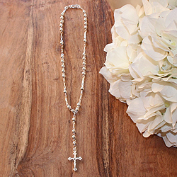My First Rosary™ - Sterling Silver Rosary Necklace - Add an optional engravable charm and birthstone to personalize/