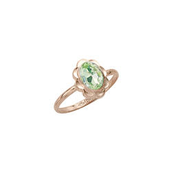 Girl's Birthstone Rings - 10K Yellow Gold Girls Synthetic Peridot Birthstone Ring - Size 5 1/2 - Perfect for Grade School Girls, Tweens, or Teens/