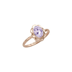 Girl's Birthstone Rings - 10K Yellow Gold Girls Synthetic Rhodolite Birthstone Ring - Size 5 1/2 - Perfect for Grade School Girls, Tweens, or Teens/