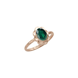 Girl's Birthstone Rings - 10K Yellow Gold Girls Synthetic Emerald Birthstone - BEST SELLER/